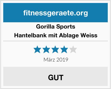 Gorilla Sports Hantelbank mit Ablage Weiss Test