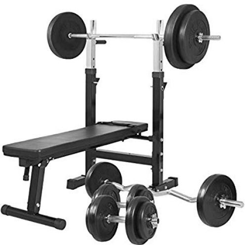Gorilla Sports Hantelbank mit Langhantelset 100 kg